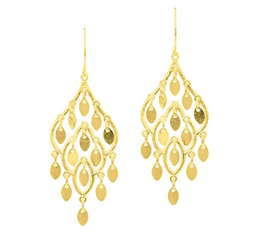 10k Yellow Gold Fancy Chandelier Drop Earring with French Wire -