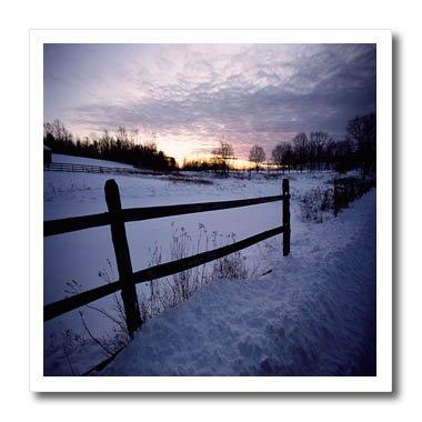 Daybreak Three Light - 3dRose TDSwhite – Winter Seasonal Nature Photos - Winter Theme Daybreak Sunrise Fence - 10x10 Iron on Heat Transfer for White Material (ht_285019_3)