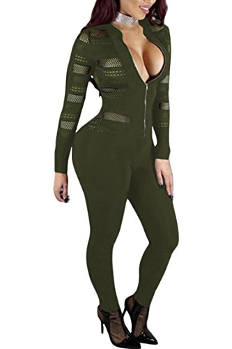 VamJump Womens Sexy Mesh Splice Long Sleeve One Piece Jumpsuit Pants Green L (One Piece Jumper)