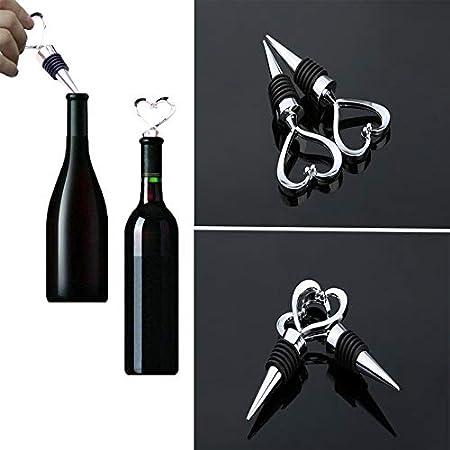 uego de 4 Tapones de Vino con 2 Tapones de Champán a Presión y 2 Tapones de Botella con Forma de Corazón, Tapón de Vino Espumoso para vino, Champán y Prosecco