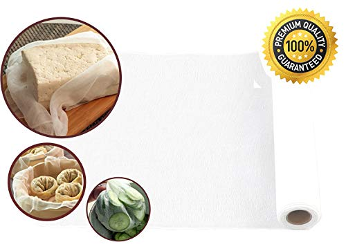 Roll Cheesecloth for straining, Nut Milk Bag, cooking, reusable -DIY Cutting as you need- Grade 50, 100% Unbleached Cotton (32 Sq Feet, 3.6 Yards)