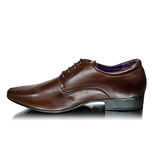 Nera Alla Elegante taglia 7 Scarpe Formali UK Nuovo Abito Pelle 9 8 Marrone Cioccolato Moda In Da Uomo 10 11 6 x1vwg1qYr
