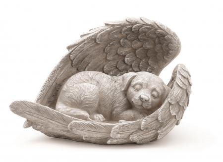 Napco Dog Sleeping in Angel Wings Pet Memorial Statue]()