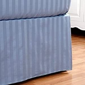 300tc egyptian cotton stripes blue twin extra long pleated tailored bed skirt with 15 inches. Black Bedroom Furniture Sets. Home Design Ideas