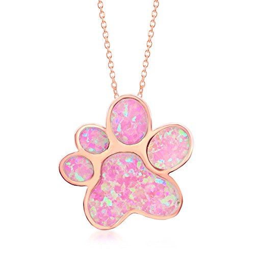 - Beaux Bijoux Sterling Silver Rose Tone Created Pink Opal Paw Print 18