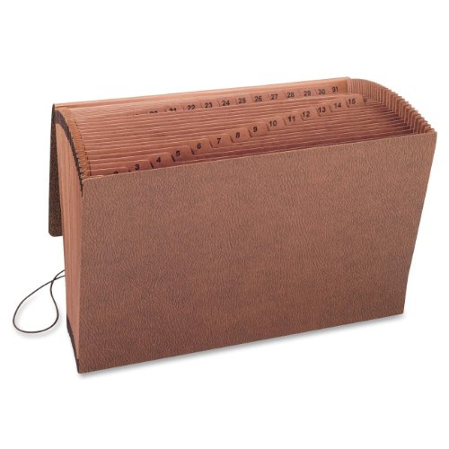 Smead TUFF Expanding File, Daily (1-31), 31 Pockets, Flap and Elastic Cord Closure, Legal Size, Redrope-Printed Stock - Leather 31 Pocket