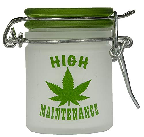 Marijuana Pot Buds Stash Jar w/Clamping Lid In Choice Of Design (Frosted Hi Maintenance)