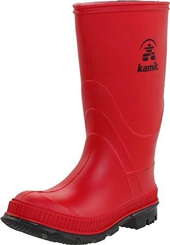 Kamik Youth Stomp Rain Boots Red 7 & Toe warmers Bundle - Kid Stomp Rain Boot