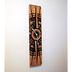 Large Wood Wall Clock with Compass Rose on Stained Distressed Solid Pine 32 x 8
