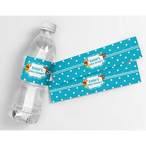 (Winnie The Pooh Personalized Baby Shower Waterproof Water Bottle Labels)