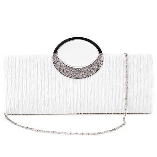 Mujer Carteras Bolso Fiesta Asa Brillante Blanco Corta Satén Boda Mano Para Con Color Diamantes Salir De qSAUEwS