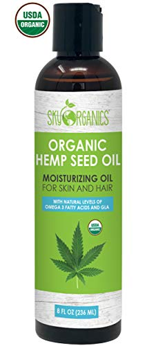 Organic Hemp Seed Oil by Sky Organics (8oz) 100% Pure Cold-Pressed Hemp Oil -High in Omega 3-6-9 Fatty Acids- Not CBD oil- Sativa Oil- Food grade, Non-GMO, Cruelty Free- Great for dry skin