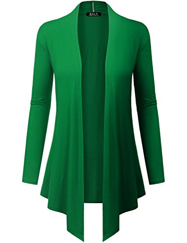 Because I Love You Women's Open Front Drape Hem Lightweight Cardigan - XX-Large - Kelly Green -