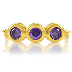 Kay's February Birthstone Chain Link Triple Stone Ring - Amethyst CZ, Gold Plated