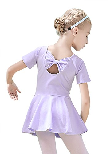 ORIDOOR Girl's Short Sleeve Skirt Leotard Back Bowknot Tutu Dress Soft Cotton Ballet Halloween Dancing Costumes (Tag 140 - Age 8-9, Purple)