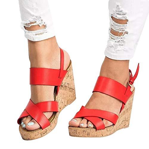 Women Wedges Shoes Ankola Womens High Heel Wedge Sandals Open Peep Toe Side Ankle Buckle Strap Summer Shoes (US:5.5, Red) by Ankola-Women Shoes