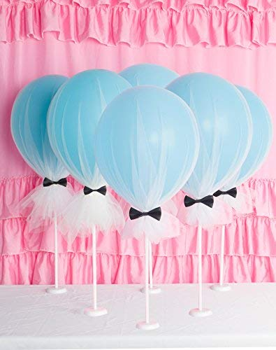 Suppromo 12 inch Party Latex Balloons Blue Balloons with Column Base Kit for Baby Shower Birthday Wedding Party Decoration6 Pack 6set White Tulle