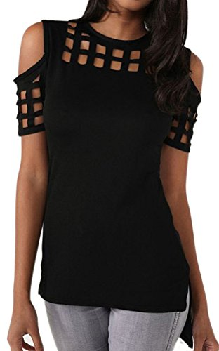 Smile Fish Women Sexy Hollow Out Cold Shoulder Short Sleeve T-Shirt(Black,L)