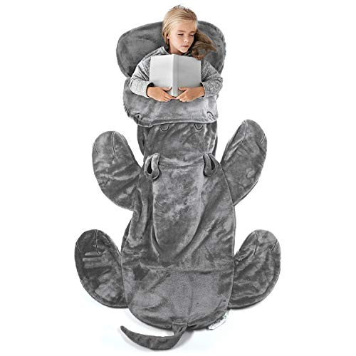 Cozy Hippo Blanket for Kids Pocket Style Kids Tail Blanket Made of Extra-Soft and Durable Fabric | Hippo Design | Warm and Comfortable, Sleep Sacks for Movie Night, Sleepovers, ()