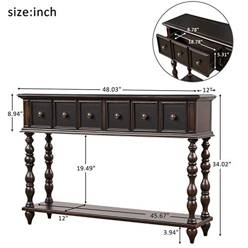 Romatpretty Sideboard Sofa Desk LongTable Shelf Rectangular Living Room Versatile Design Wide Desktop Vintage Industrial Console Table