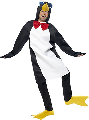 [Smiffy's Adult Unisex Penguin Costume, Bodysuit, Bow Tie and Boot covers, Party Animals, Serious Fun, One Size,] (Animal Halloween Costumes Men)