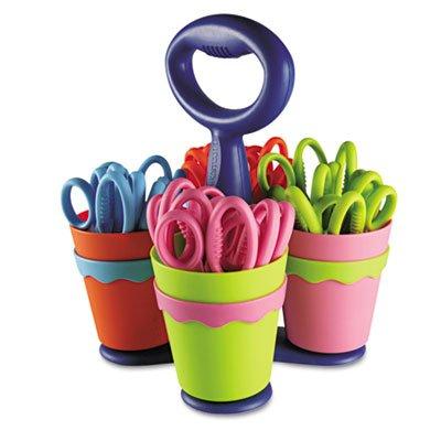 School Scissors Caddy w/24 Pairs of Kids' Scissors w/Microban, 5'' Blunt