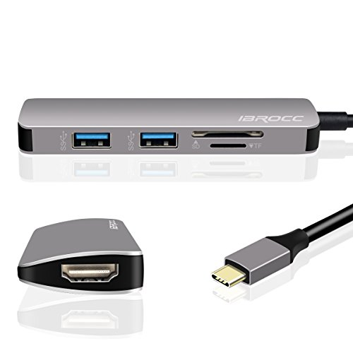 IBROCC USB C Adapter,USB C Hub HDMI Output, SD microSD Card Readers, 2 USB 3.0 Ports MacBook Pro 2017/2016, Google Chromebook Pixel, Samsung S8/S8 Plus -Gray by IBROCC (Image #3)