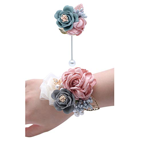 (JustMyDress Bridesmaid Wrist Corsage Flowers with Bead Wedding Wristband Flower JW70 (Set E))