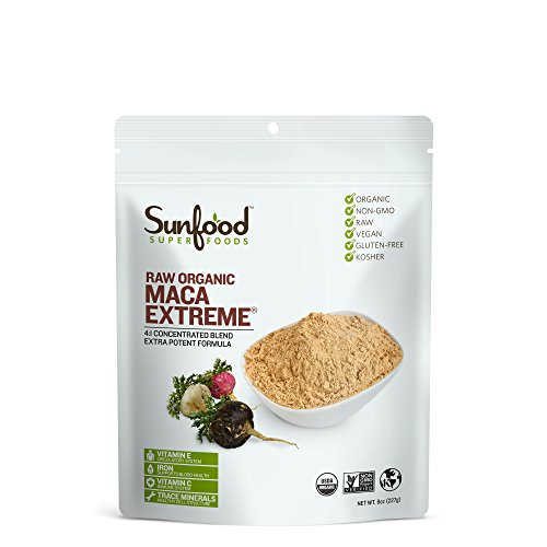 Sunfood Superfoods Maca Extreme Powder- Raw, Organic. Highest Concentration of Most Beneficial Elements. Unique Drying Process of Fresh Maca Root. Less Starch for Easy Digestion. 8 oz Bag