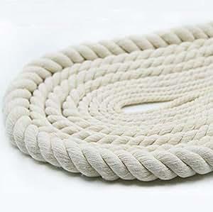 6 Mm Cuerda Trenzada Gruesa Hilo De Algodón Trenzado Decoración Cuerda Blanco Paquete De Torsión Blanco 10 M De Espesor