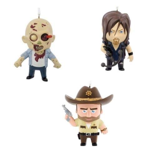 Hallmark AMC Walking Dead Daryl Dixon, Rick Grimes & Walker Zombie Christmas Ornament Set of 3