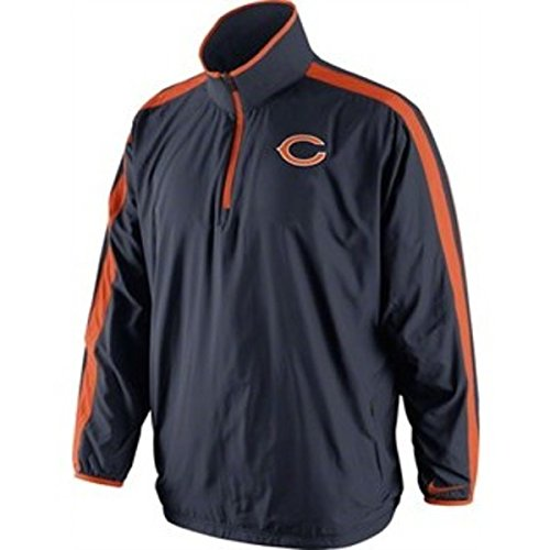 Nike Chicago Bears Navy Onfield Woven Sideline Coaches Half Zip Jacket (Small)