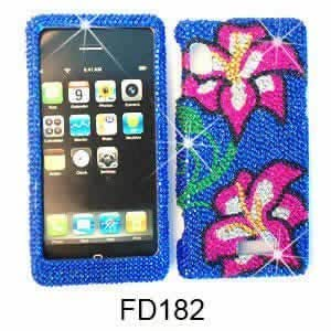 Bloutina Two Pink Flowers on Dark Blue Diamond Bling Stones snap on cover faceplate for Motorola Droid 2 A955
