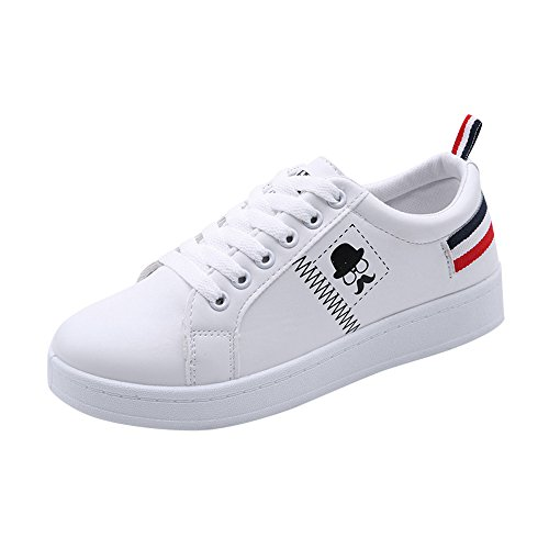 Casual Shoes for Women,Cinsanong Sale! Ladies Fashion Beard Striped Sneakers Flat Soft White Lightweight Shoes ()