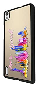 304 - Splash watercolor new york city Design For Huawei Ascend P7 Fashion Trend CASE Back COVER Plastic&Thin Metal