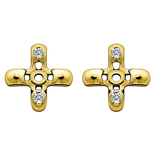 (1/25 ct. White Sapphire Cross Shaped Earring Jackets in Yellow Plated Sterling Silver (0.06 ct. twt.))