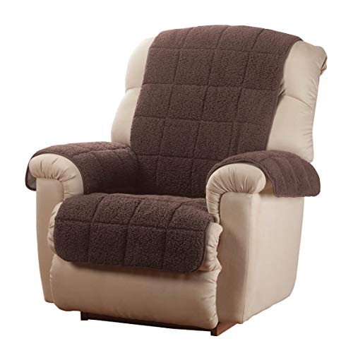 Waterproof Quilted Sherpa Recliner Cover by OakRidge Comforts, Brown