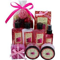 Peony Floral Spa Gift Set by Art de Moi, 9 Piece Kit with Shower Gel, Moisturizing Lotion, Bubble Bath, Body Butter, Body Scrub, Fragrance Spray, Soap Flower Petals and Potpourri -