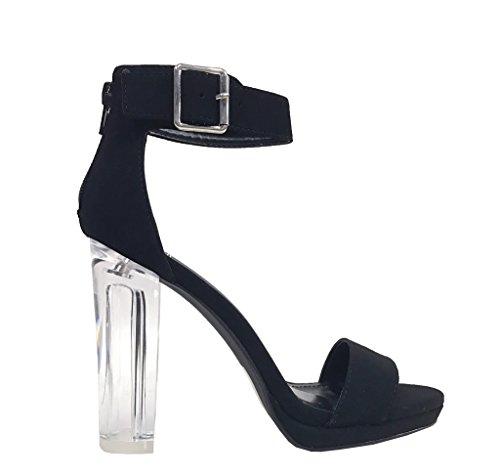 Carico Delizioso! Donna Sexy Cinturino Alla Caviglia Con Tacco Grosso In Chiffon Trasparente, Sandali Con Tacco In Nabuk Nero
