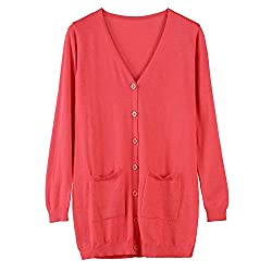 Spring Autumn Wool Cashmere Sweater Fashion Medium Long Loose Sweaters For Female Outerwear Coat With Pockets Medium Watermelonred