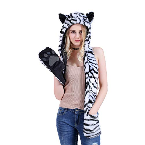 White Tiger Full Animal Hood Hat Cap Scarf Gloves Mittens Faux Fur Fleece Lined Interior Anime Spirit Paws Ears Zipper Furry Hoodie -