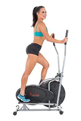 Sunny Health & Fitness SF-E1404 Air Elliptical Trainer, Gray