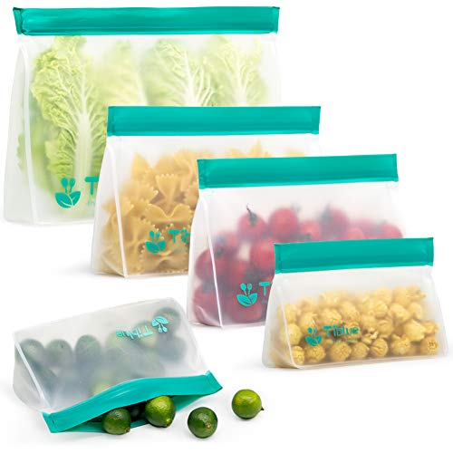 Reusable Storage Bags - 5 Pack Stand-UP Freezer Bags (2 Reusable Sandwich Bags + 2 Reusable Snack Bags + 1 Reusable Lunch Bag)- Extra Thick Leakproof Ziplock Bag for Food Storage BPA Free (Eco Friendly Reusable Bags)