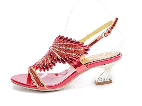 SHFANG Sandalias de las señoras estilo romano strass en y feria de verano y zapatos de la boda Banquete partido formal rojo diario 5 cm Red