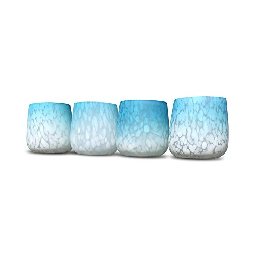 The Beach Chic Hurricane Wind-Light Candle Holder Centerpieces, Art Glass, Hand Blown, Ombre, Rustic Pale Blue, Faded White, Translucent Speckles, 3 Diameter x 3½ Tall Inches, Flare Tapered Belly -