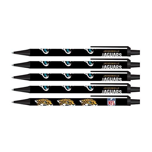 Pro Specialties Group NFL Jacksonville Jaguars Disposable Black Ink Click Pens, 5-Pack