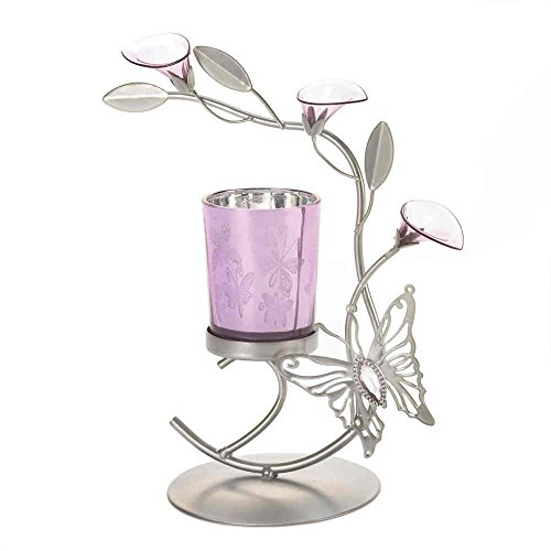 Purple Lily Flower Butterfly Silver Candle Holder Metal Sculpture Valentine Gift (Sculpture Candle)