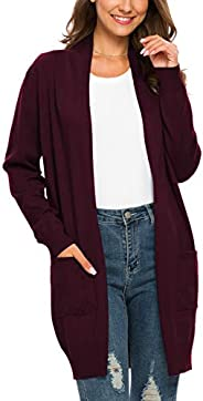 PCEAIIH Women Essential Open Front Long Knit Cardigan Sweater with Pockets