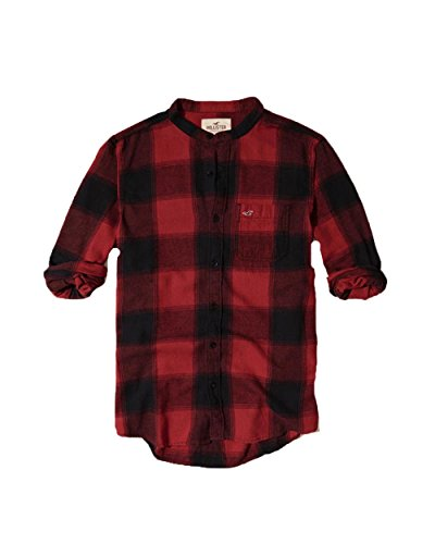 hollister-mens-front-button-down-shirt-m-red-banded-collar