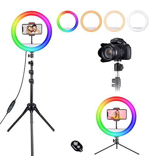 12″ Selfie Ring Light, RGB Ring Lights with 63″ Extendable Tripod Stand & Cell Phone Holder for Live Stream, LED Selfie Light 10 Brightness, Wireless Remote for iPhone & Android Phone